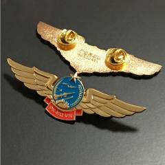 高端镀金徽章奖章 金属徽章定制胸章制作 企业公司庆典纪念章 翅膀镀金徽章荣誉勋章