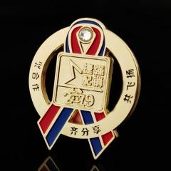 金属胸牌定制 纯银徽章纪念奖章胸章定做制作