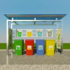户外垃圾分类回收亭收集亭不锈钢雨棚分类垃圾亭 不锈钢 210*120*220cm